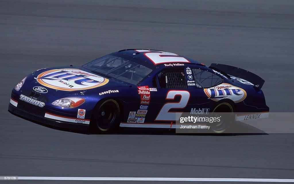 Rusty Wallace #2 who drives the Ford Taurus for Penske Racing pulls out of a turn during the Napa 500, part of the NASCAR Winston Cup Series at the California Speedway in Fontana, California.Mandatory Credit: Jon Ferrey /Allsport