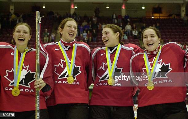 Team Canada players sing their national anthem after they won the Women's World Hockey Championships at Mariucci Arena in Minneapolis Minnesota...