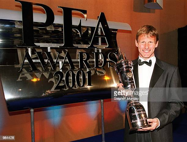 Teddy Sheringham of Manchester United is named PFA Player of the Year at the PFA Awards Ceremony at the Grosvenor House Hotel in London Mandatory...