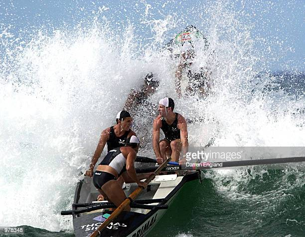 The Corrimal Surf Lifesaving Club boat crew on its way to winning the under 21 Surf Boat final at the Australian Surf Life Saving Championships at...