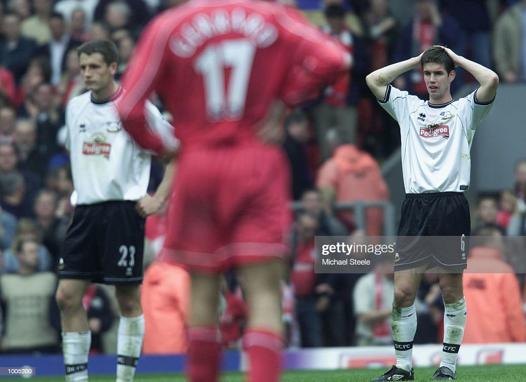 A dejected Chris Riggott of Derby after the Liverpool v Derby County FA Barclaycard Premeirship match at Anfield, Liverpool. DIGITAL IMAGE Mandatory Credit: Michael Steele/Getty Images