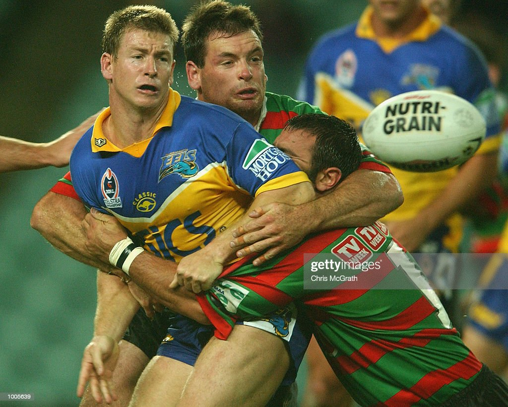 Adam Dykes #6 of the Eels gets a pass away during the Round 6 NRL match between the South Sydney Rabbitohs and the Parramatta Eels held at Aussie Stadium, Sydney, Australia. DIGITAL IMAGE. Mandatory Credit: Chris McGrath/Getty Images