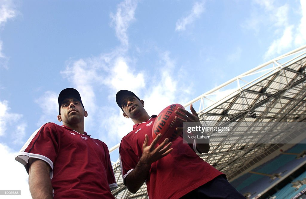 Adam Goodes and Michael O''Loughlin of the Sydney Swans during an AFL press conference at Stadium Australia, Sydney, Australia. DIGITAL IMAGE Mandatory Credit: Nick Laham/Getty Images