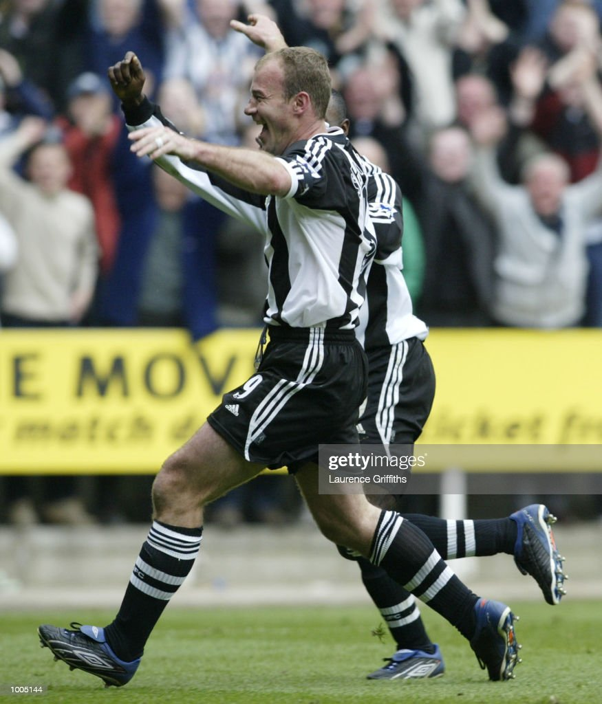 Alan Shearer of Newcastle celebrates his 200th league goal during the Newcastle United v Charlton Athletic FA Barclaycard Premiership match at St James Park, Newcastle. DIGITAL IMAGE Mandatory Credit: Laurence Griffiths/Getty Images