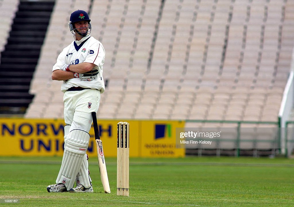 Alec Swann of Lancashire waits at the crease during his knock of 80 during the Frizzell County Championship match between Lancashire ans Leicestershire at Old Trafford, Manchester. DIGITAL IMAGE Mandatory Credit: Mike Finn Kelcey/Getty Images