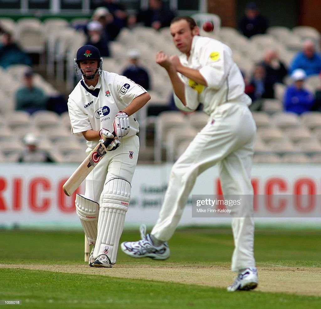 Alec Swann of Lancashire watches as Charles Dagnall of Leicestershire tries to catch him out during the Frizzell County Championship match between Lancashire ans Leicestershire at Old Trafford, Manchester. DIGITAL IMAGE Mandatory Credit:Mike Finn Kelcey/Getty Images