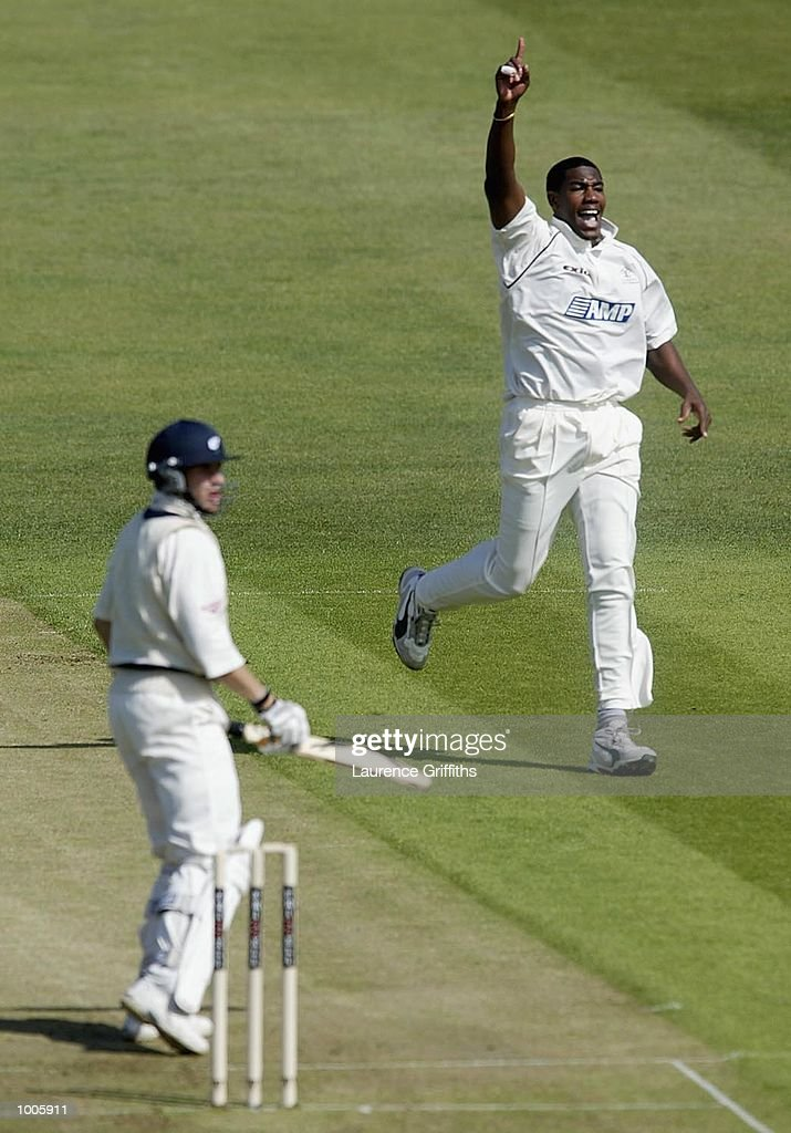 Alex Tudor of Surrey celebrates the wicket of Matthew Wood of Yorkshire during the Frizzell County Championship game between Yorkshire and Surrey at Headingley, Leeds. DIGITAL IMAGE Mandatory Credit: Laurence Griffiths/Getty Images