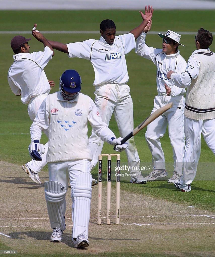 Alex Tudor of Surrey celebrates trapping Richard Montgomerie of Sussex leg before wicket on the third day of the Frizzell County Championship match between Surrey and Sussex at the Oval, London. DIGITAL IMAGE Mandatory Credit: Craig Prentis/Getty Images