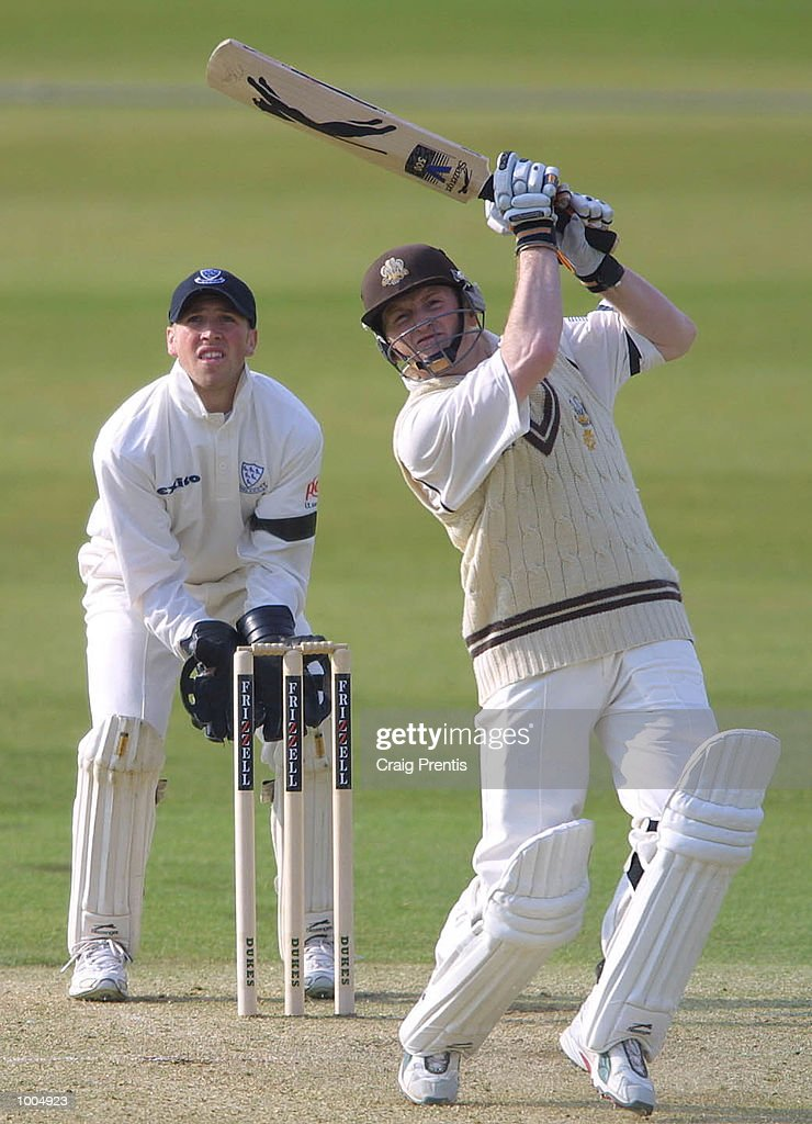 Ali Brown of Surrey in action on his way to scoring a century with Matthew Prior of Sussex behind the stumps on the first day of the Frizzell County Championship match between Surrey and Sussex at the Oval, London. DIGITAL IMAGE MandatoryCredit: Craig Prentis/Getty Images