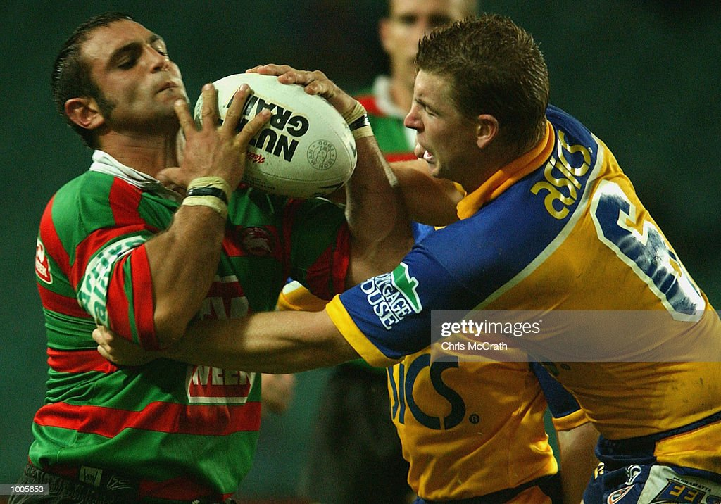 Anthony Colella #11 of the Rabbitohs looks to offload during the Round 6 NRL match between the South Sydney Rabbitohs and the Parramatta Eels held at Aussie Stadium, Sydney, Australia. DIGITAL IMAGE. Mandatory Credit: Chris McGrath/GettyImages