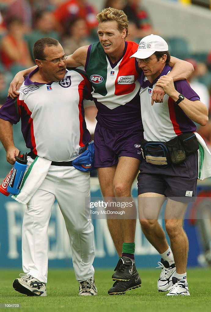 Anthony Jones #5 for Fremantle leaves the field, injured during the round two AFL match between the Fremantle Dockers and St Kilda Saints played at Subiaco Oval in Western Australia.Mandatory Credit: Tony McDonough/Getty Images