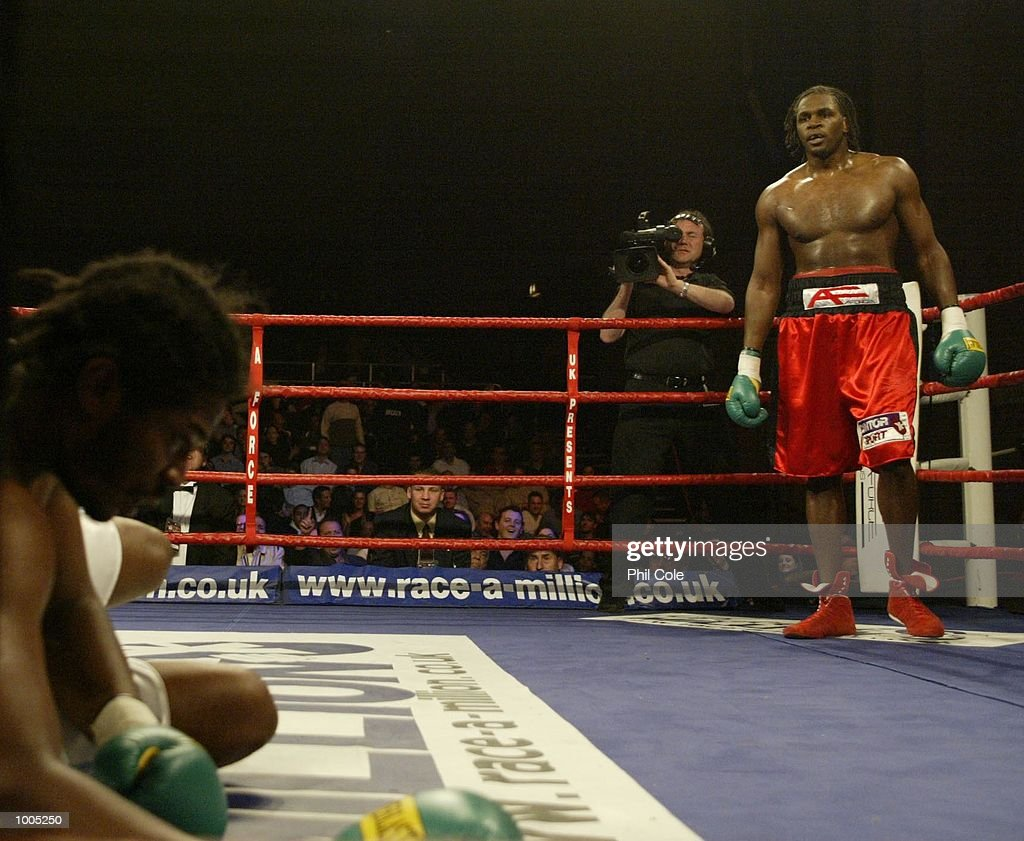 Audley Harrison of Great Britain looks on after knocking out Julius Long of the USA in the second round during the Heavyweight fight at the Wembley Conference Centre, London. DIGITAL IMAGE. Mandatory Credit: Phil Cole/Getty Images