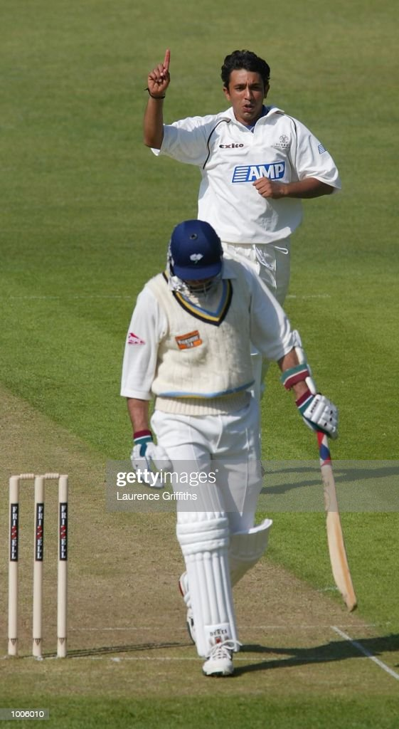 Azhar Mahmood of Surrey celebrates the wicket of Chris Silverwood of Yorkshire during the Frizzell County Championship game between Yorkshire and Surrey at Headingley, Leeds. DIGITAL IMAGE Mandatory Credit: Laurence Griffiths/Getty Images