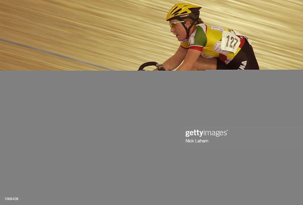 Belinda Goss of Tasmania on her way to winning the U19 Womens 10k Race during the National Track Championships held at the Dunc Gray Velodrome, Sydney, Australia. Mandatory Credit: Nick Laham/Getty Images