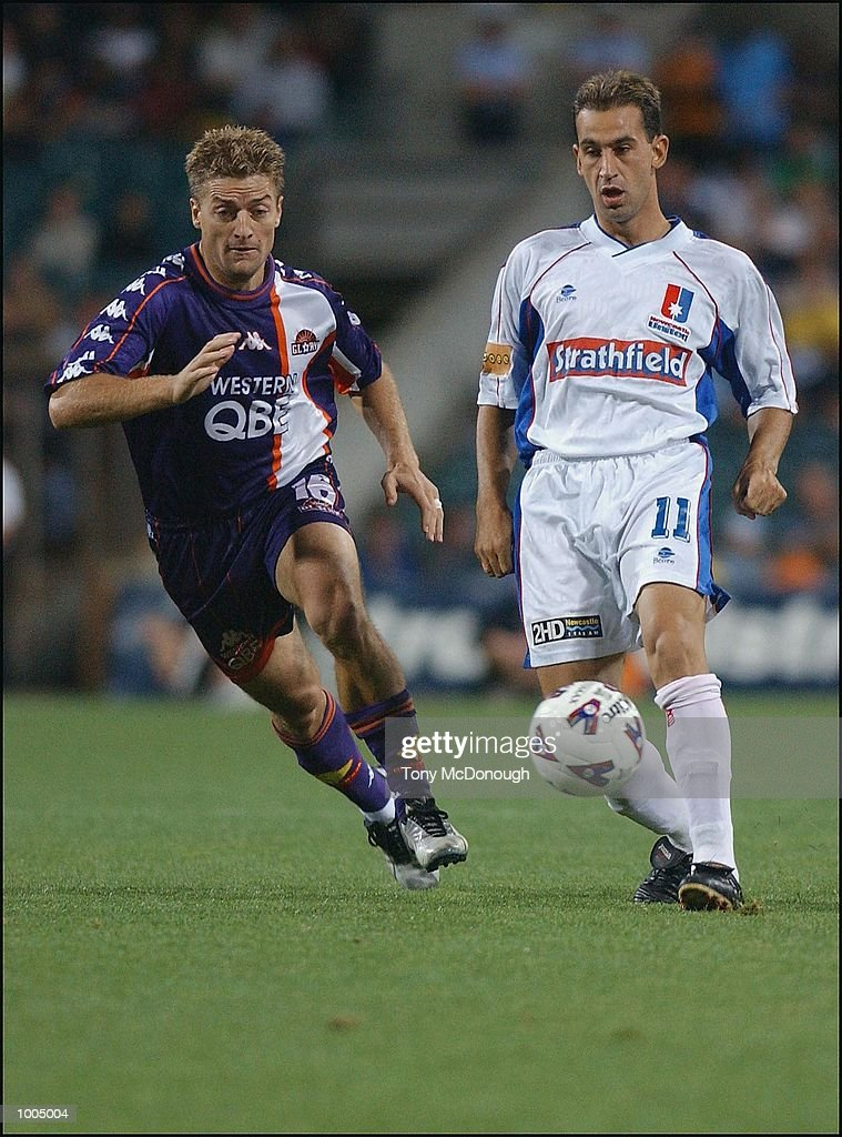 Brad Hassell #12 for Glory and Peter Tsekenis #11 for Newcastle during the major semi-final first leg between Perth Glory v Newcastle United, played at the Subiaco Oval. DIGITAL IMAGE. Mandatory Credit: Tony McDonough/Getty Images
