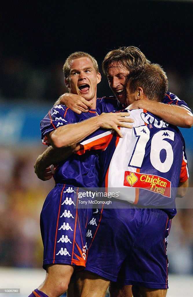 Brad Maloney #8, Bobby Despotovski #10 and Damian Mori #16for the Glory celebrate a goal during the major semi-final first leg between Perth Glory v Newcastle United, played at the Subiaco Oval. DIGITAL IMAGE Mandatory Credit: Tony McDonough/Getty Images