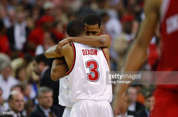 Bryon Mouton and Juan Dixon of Maryland celebrate during the men's NCAA National Championship game at the Georgia Dome in Atlanta Georgia Maryland...