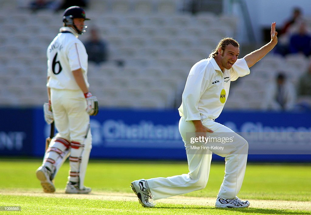 Charles Dagnall of Leicstershire appeals for the wicket of Mark Chilton of Lancashire in the Frizzell County Championship match at Old Trafford, Manchester. DIGITAL IMAGE Mandatory Credit: Mike Finn Kelcey/Getty Images
