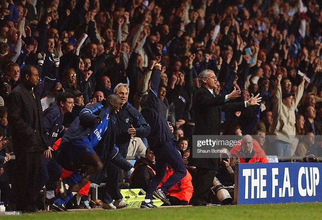 Chelsea manager Claudio Ranieri and the bench celebrate their win on the final whistle as Fulham manager Jean Tigana looks on during the Axa FA Cup Semi Final match between Chelsea and Fulham at Villa Park, Birmingham. DIGITAL IMAGE. Mandatory Credit: Shaun Botterill/Getty Images