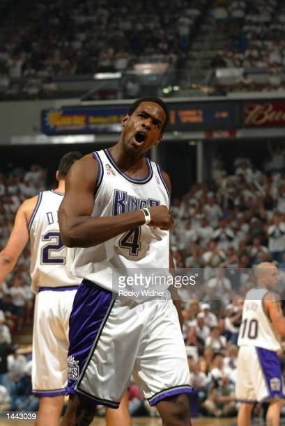 Chris Webber of the Sacramento Kings reacts to a call late during the first quarter against the Utah Jazz at the ARCO Arena in Sacramento California...