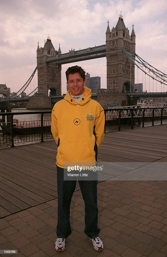 Damon Harris of Australia poses in front of Tower Bridge during a press conference for the Flora London Marathon held at Tower Bridge, London. Mandatory Credit: Warren Little/Getty Images