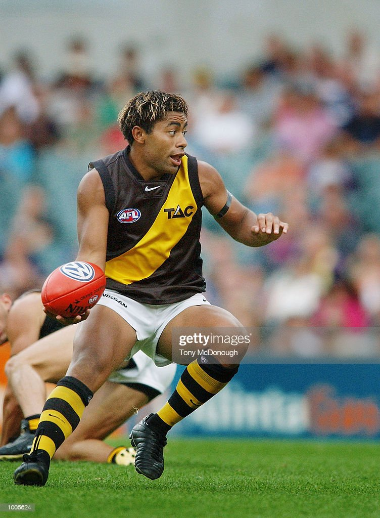 David Rodan #18 for Richmond during the AFL match between Fremantle and Richmond.The Fremantle Dockers won the match with 138 points to the Richmond Tigers 72 points, played at the Subiaco Oval, Western Australia. DIGITAL IMAGE. Mandatory Credit: Tony McDonough/Getty Images