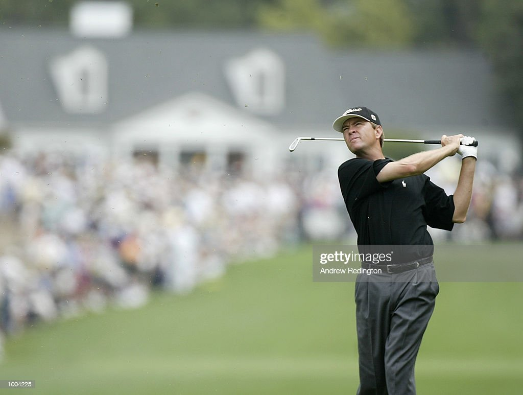 Davis Love III of the USA plays his second shot on the first hole during the third day of the Masters Tournament from the Augusta National Golf Club in Augusta, Georgia. DIGITAL IMAGE. EDITORIAL USE ONLY Mandatory Credit: Andrew Redington/Getty Images