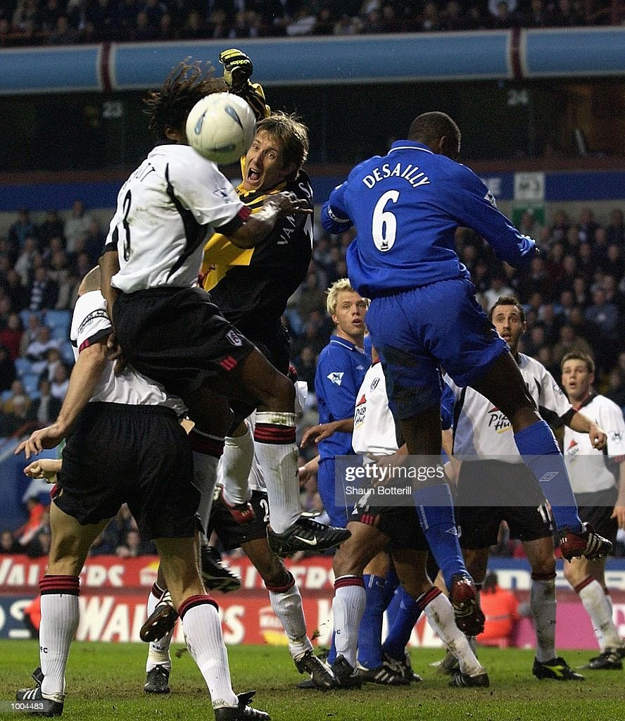 Edwin van der Sar of Fulham sees the ball go wide of the goal during the Axa FA Cup Semi Final match between Chelsea and Fulham at Villa Park, Birmingham. DIGITAL IMAGE. Mandatory Credit: Shaun Botterill/Getty Images