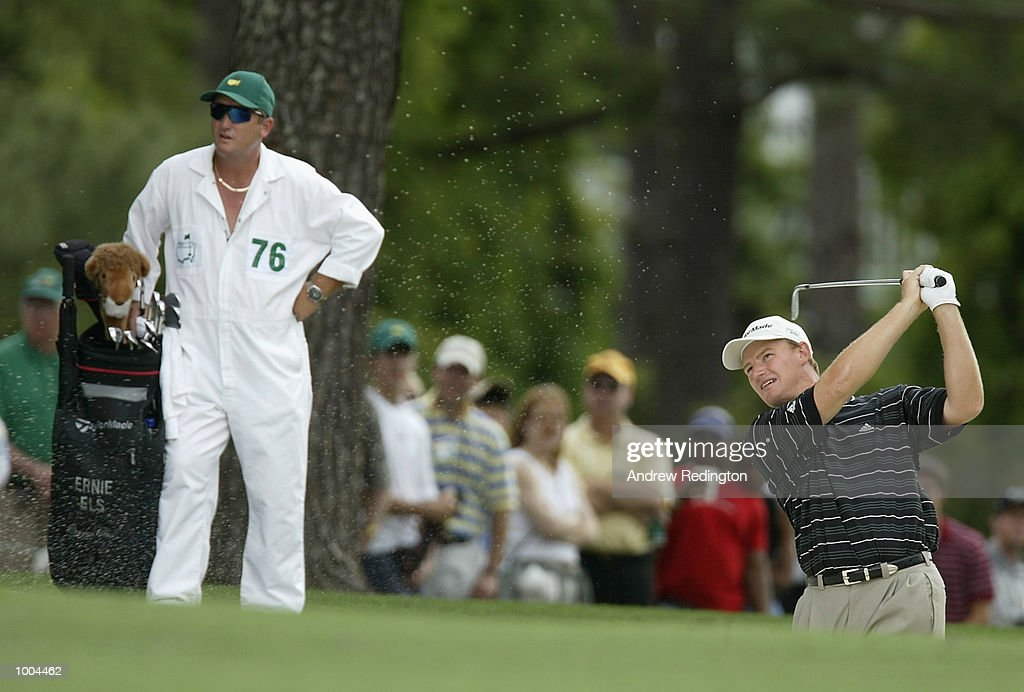 Ernie Els of South Africa plays his second shot from the bunker on the first hole during the final round of the Masters Tournament from the Augusta National Golf Club in Augusta, Georgia. DIGITAL IMAGE. EDITORIAL USE ONLY Mandatory Credit:Andrew Redington/Getty Images