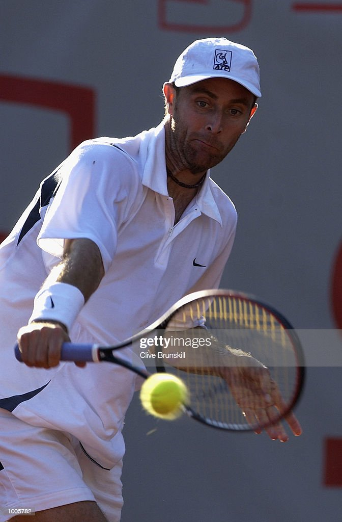 Felix Mantilla of Spain in action during his first round match against Fernando Gonzalez of Chile during the Open Seat Godo, Barcelona, Spain . DIGITAL IMAGE Mandatory Credit: Clive Brunskill/Getty Images