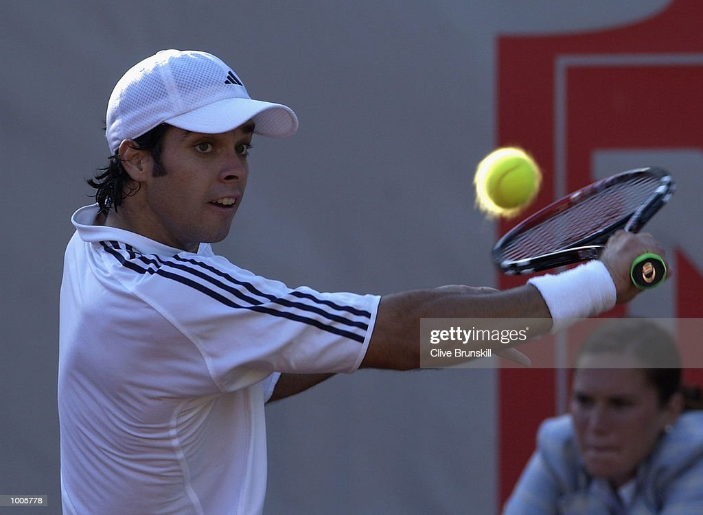 Fernando Gonzalez of Chile in action during his first round match against Felix Mantilla of Spain during the Open Seat Godo, Barcelona, Spain . DIGITAL IMAGE Mandatory Credit: Clive Brunskill/Getty Images