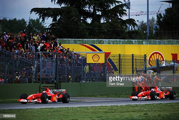 Ferrari drivers Michael Schumacher of Germany and Rubens Barrichello of Brazil during the San Marino Formula One Grand Pix held in Imola Italy...