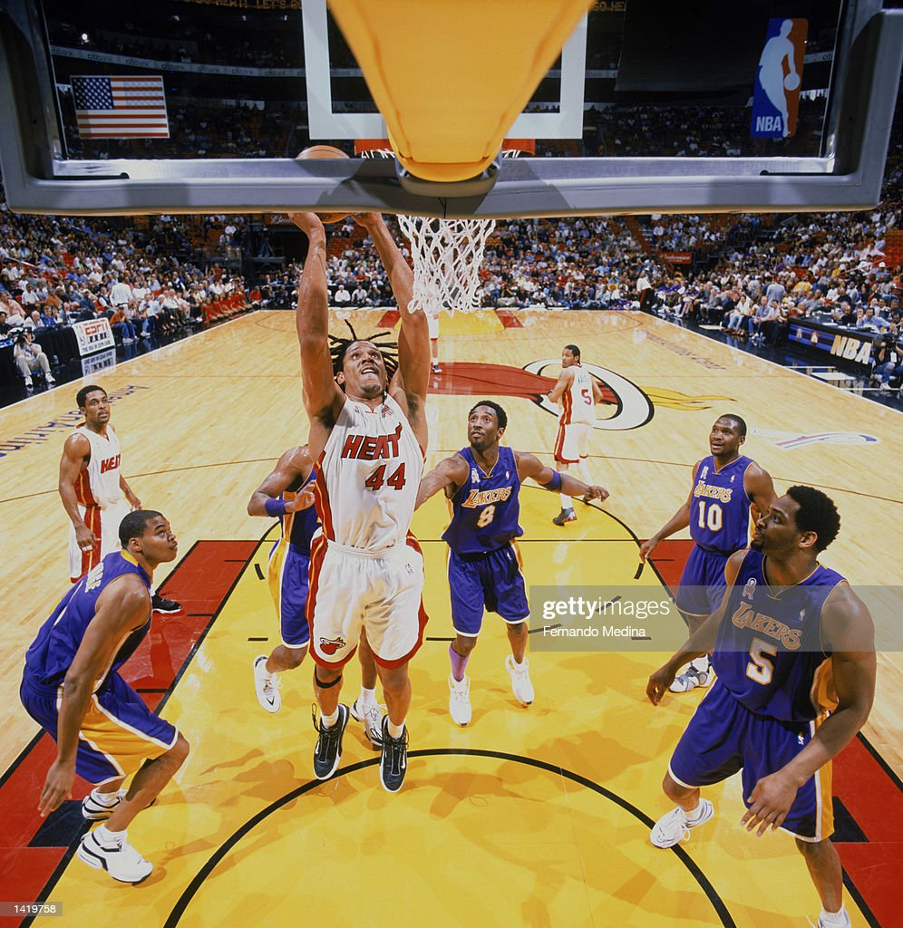 Brian Grant 44 of the Miami Heat shoots