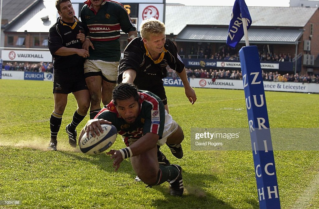 Freddie Tuilagi of Leicester goes over for a try during the Zurich Premiership match between Leicester Tigers and Newcastle Falcons at Welford Road, Leicester. DIGITAL IMAGE Mandatory Credit: Dave Rogers/Getty Images