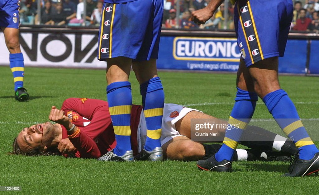 Gabriel Batistuta of Roma lies injured during the Serie A match between Roma and Parma, played at the Olympic Stadium, Roma. DIGITAL IMAGE Mandatory Credit: Grazia Neri/Getty Images