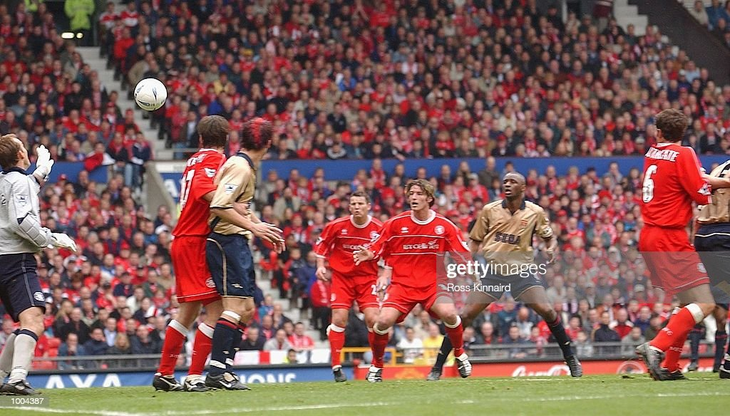 Gianluca Festa of Middlesbrough (not in photo) scores an own goal during the AXA FA Cup Semi Final between Arsenal and Middlesbrough at Old Trafford, Manchester. DIGITAL IMAGE. Mandatory Credit: Ross Kinnaird/Getty Images