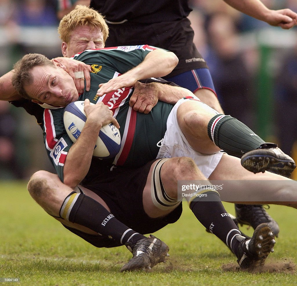 Glenn Gelderbloom of Leicester is tackled during the Zurich Premiership match between Leicester Tigers and Newcastle Falcons at Welford Road, Leicester. DIGITAL IMAGE Mandatory Credit: Dave Rogers/Getty Images