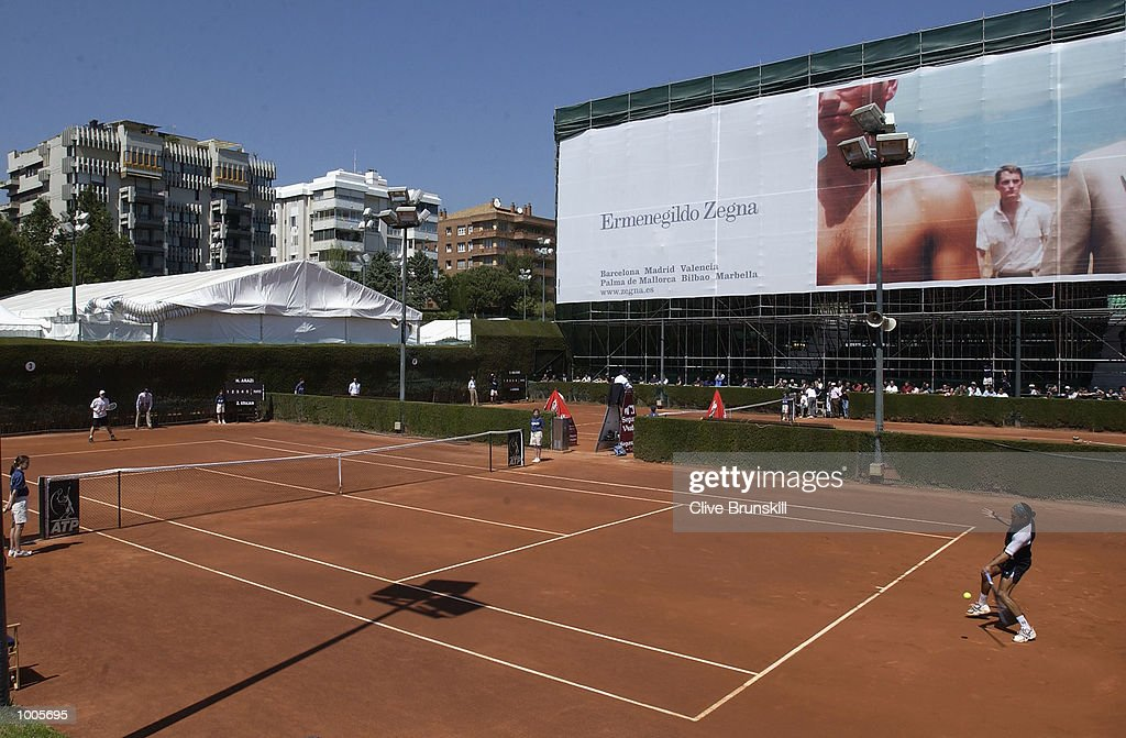 Hicham Arazi of Morocco in action on court number 3 during his first round match against Zeljko Krajan of Croatia during the Open Seat Godo, Barcelona, Spain . DIGITAL IMAGE Mandatory Credit: Clive Brunskill/Getty Images