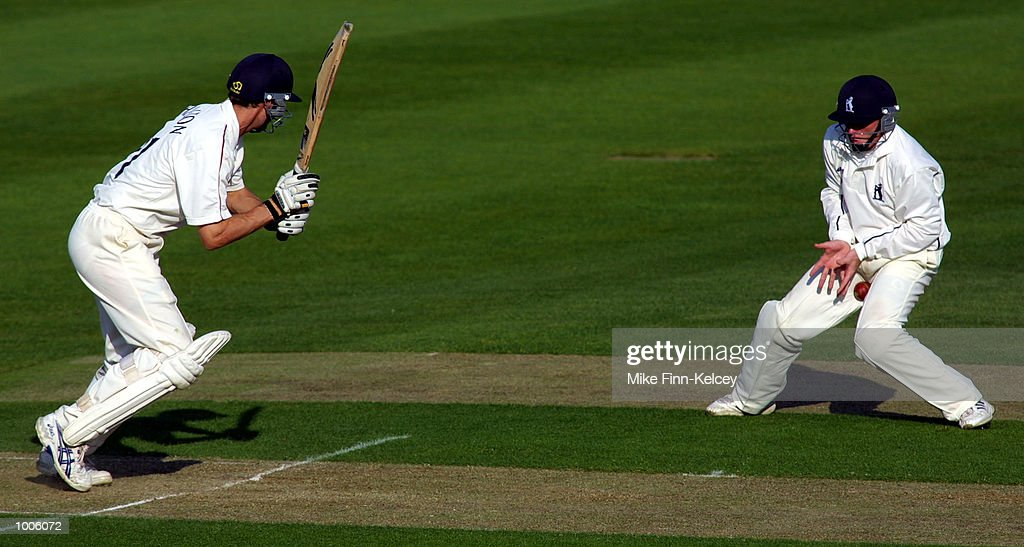 Ian Bell of Warwickshire attempts to catch Mark Chilton of Lancashire during the Frizzell County Championship match between Warwickshire and Lancashire at Edgbaston, Birmingham. DIGITAL IMAGE Mandatory Credit: Mike Finn Kelcey/Getty Images