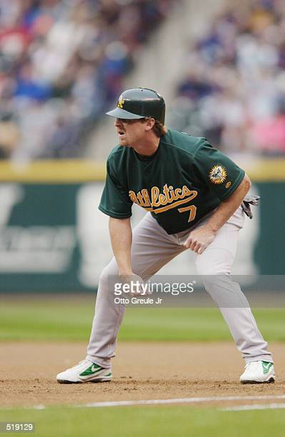 Jeremy Giambi of the Oakland A's during the game against the Seattle Mariners Safeco Field in Seattle Washington The A's won 65 DIGITAL IMAGE...