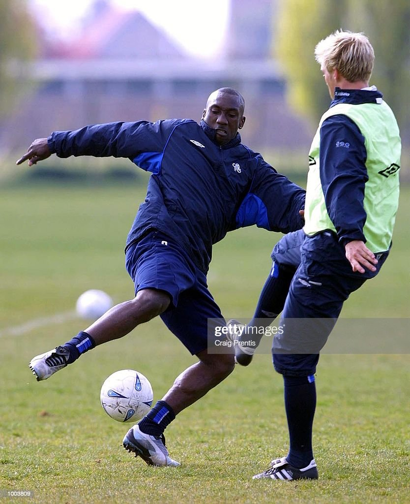 Jimmy Floyd Hasselbaink (left) and Eidur Gudjohnson of Chelsea during a training session at Chelsea's training ground near Heathrow in London, as the team prepare for Sunday's FA Cup semi-final match against Fulham at Villa Park. DIGITAL IMAGE Mandatory Credit: Craig Prentis/Getty Images