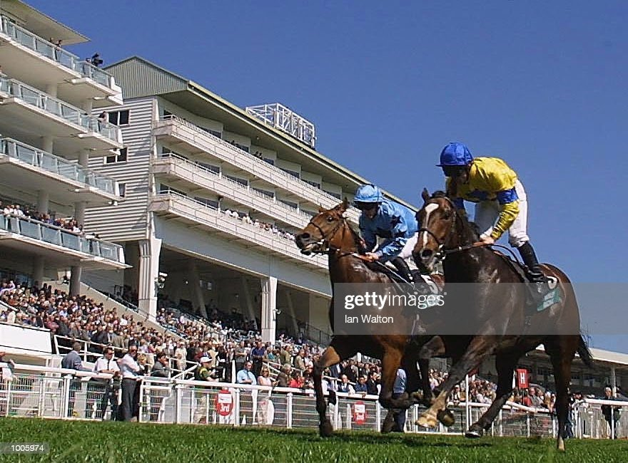 Jimmy Fortune riding Swing Wing comes home to land the Stanley Racing Blue riband trial stakes at Epsom Race Course, Surrey. DIGITAL IMAGE Mandatory Credit: Ian Walton/Getty Images