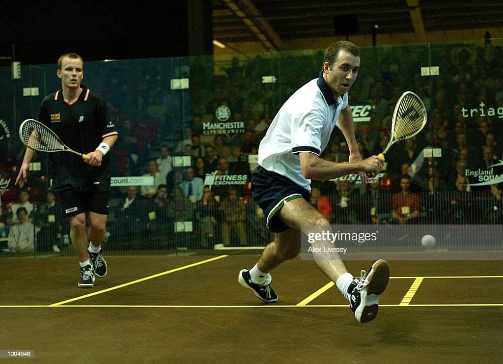 John White of Scotland in action during his defeat by Peter Nicol of England in the Mens Final of the British Open at the Commonwealth Stadium, Manchester.DIGITAL IMAGE. Mandatory Credit: Alex Livesey/Getty Images