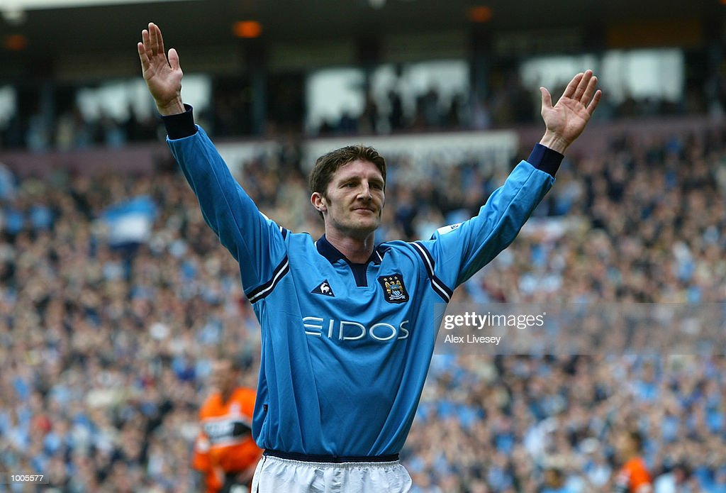 Jon Macken of Man City celebrates his goal during the Nationwide First Division game between Manchester City and Portsmouth at Maine Road, Manchester. DIGITAL IMAGE. Mandatory Credit: Alex Livesey/Getty Images