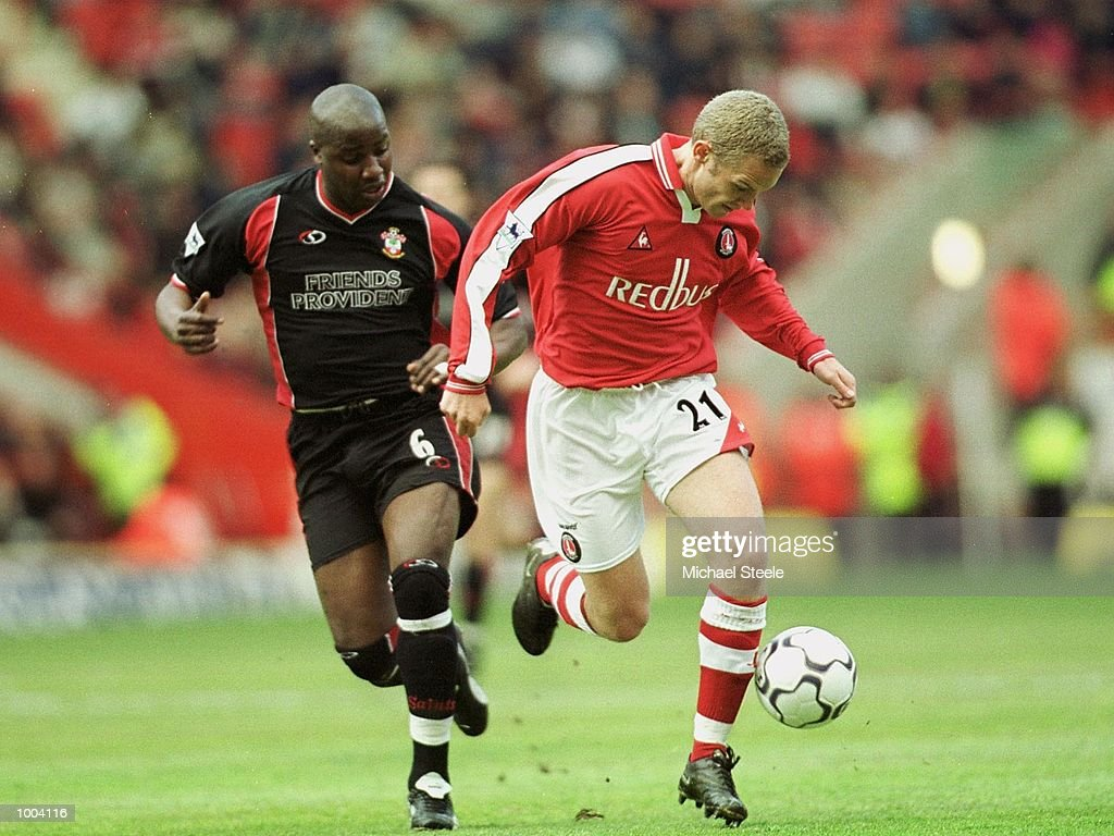 Jonatan Johnsson of Charlton is challenged by Paul Williams of Southampton during the FA Barclaycard Premiership match between Charlton Athletic and Southampton at The Valley, London. Mandatory Credit: Michael Steele/Getty Images