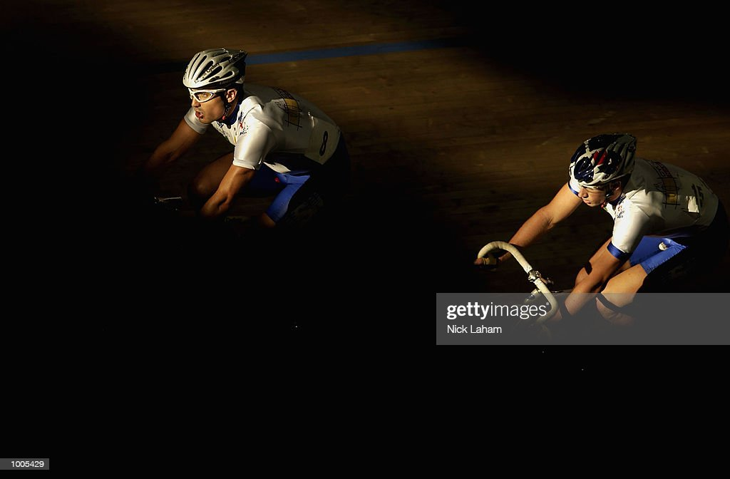 Jonathon Davis of New South Wales and team mate Mark Renshaw in action during the Mens 40k Points Race during the National Track Championships held at the Dunc Gray Velodrome, Sydney, Australia. Mandatory Credit: Nick Laham/Getty Images