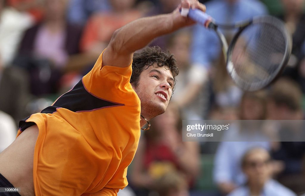 Jose Asasuso of Argentina serves during his second round match against Juan Carlos Ferrero of Spain during the Open Seat Godo 2002 held in Barcelona, Spain. DIGITAL IMAGE Mandatory Credit: Clive Brunskill/Getty Images