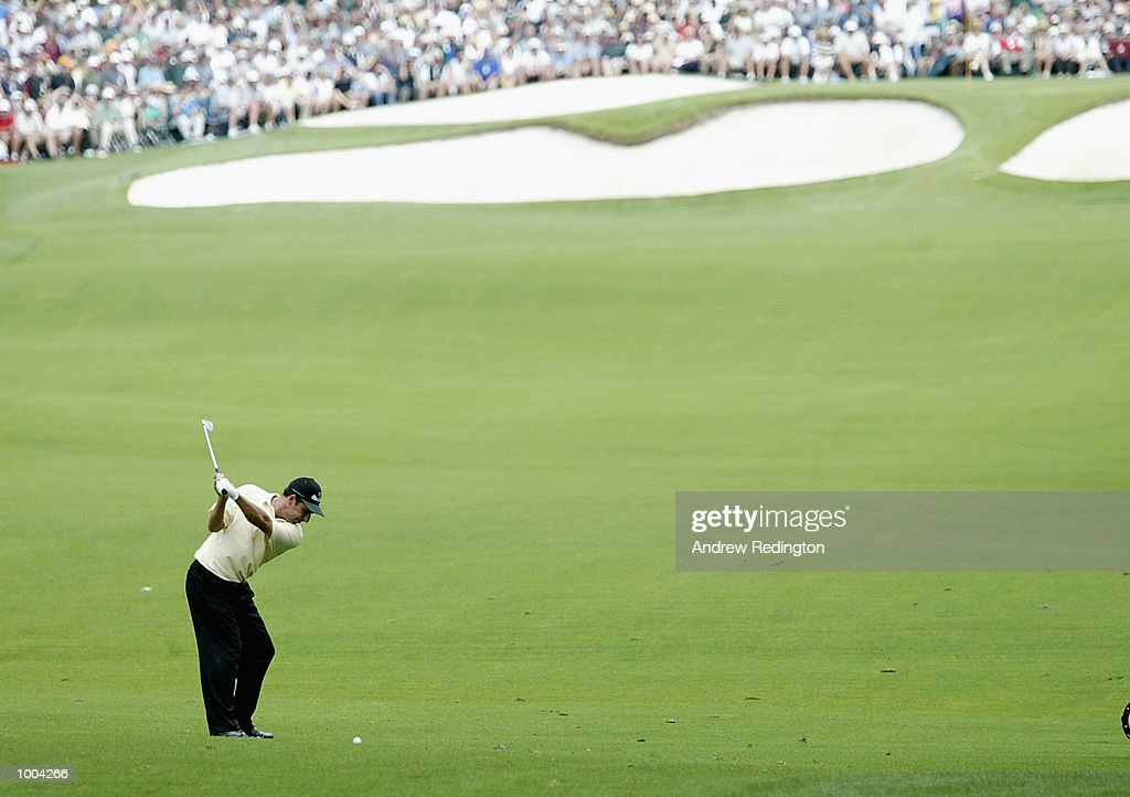 Jose Maria Olazabal of Spain plays his second shot on the seventh hole during the third day of the Masters Tournament from the Augusta National Golf Club in Augusta, Georgia. DIGITAL IMAGE. EDITORIAL USE ONLY Mandatory Credit: Andrew Redington/Getty Images