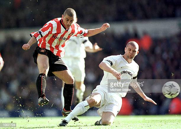 Kevin Philips of Sunderland hits the ball past Danny Mills of Leeds during the match between Leeds United and Sunderland in the FA Barclaycard...