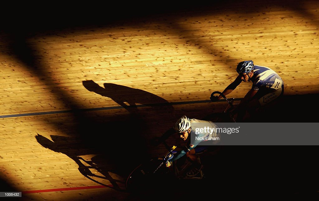 Koji Yoshii of Japan leads Tim Decker of Victoria during the Mens 40k Points Race during the National Track Championships held at the Dunc Gray Velodrome, Sydney, Australia. Mandatory Credit: Nick Laham/Getty Images
